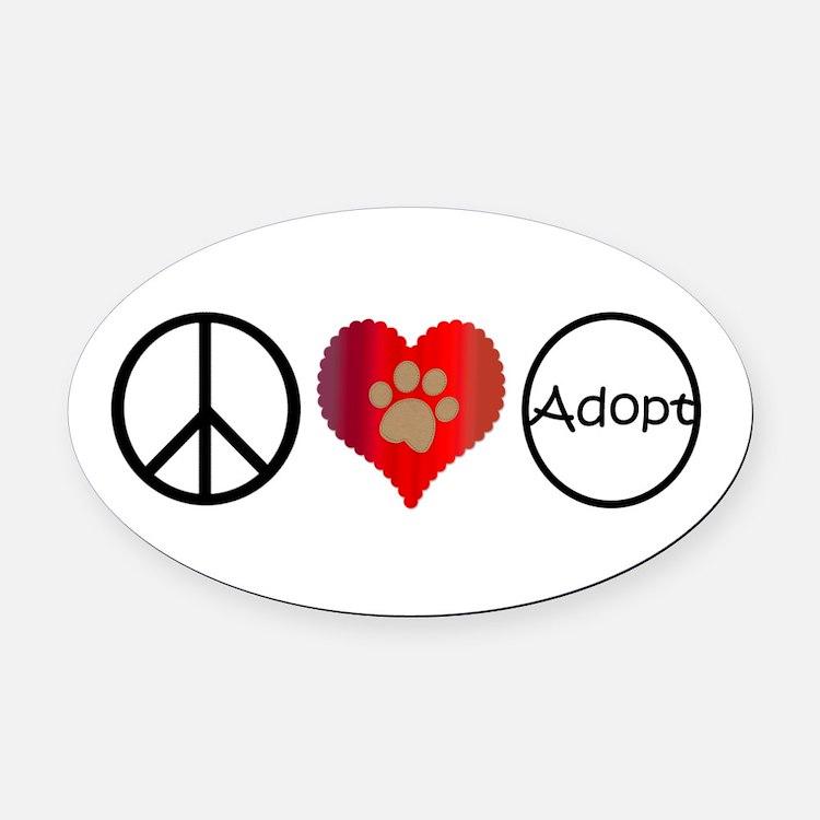 Peace Love Adopt Oval Car Magnet