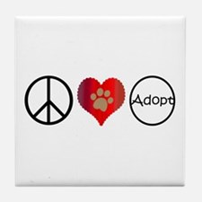 Peace Love Adopt Tile Coaster