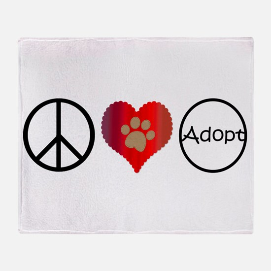 Peace Love Adopt Throw Blanket