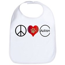 Peace Love Adopt Bib