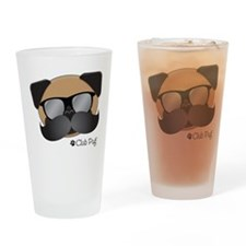 Club Pug Stache Drinking Glass
