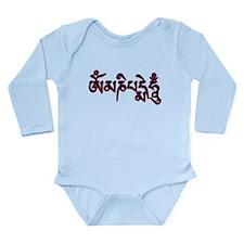 Om Mani Padme Outline Long Sleeve Infant Bodysuit