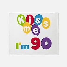 Kiss Me I'm 90 Throw Blanket