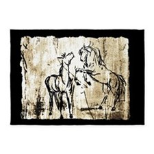 Rustic Equine Art Rearing Horses 5'x7'Area Rug