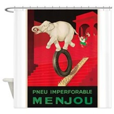 White Elephant, Tire, Vintage Poster Shower Curtai