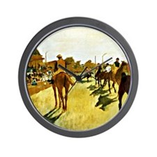 Racehorses Before the Stands Wall Clock
