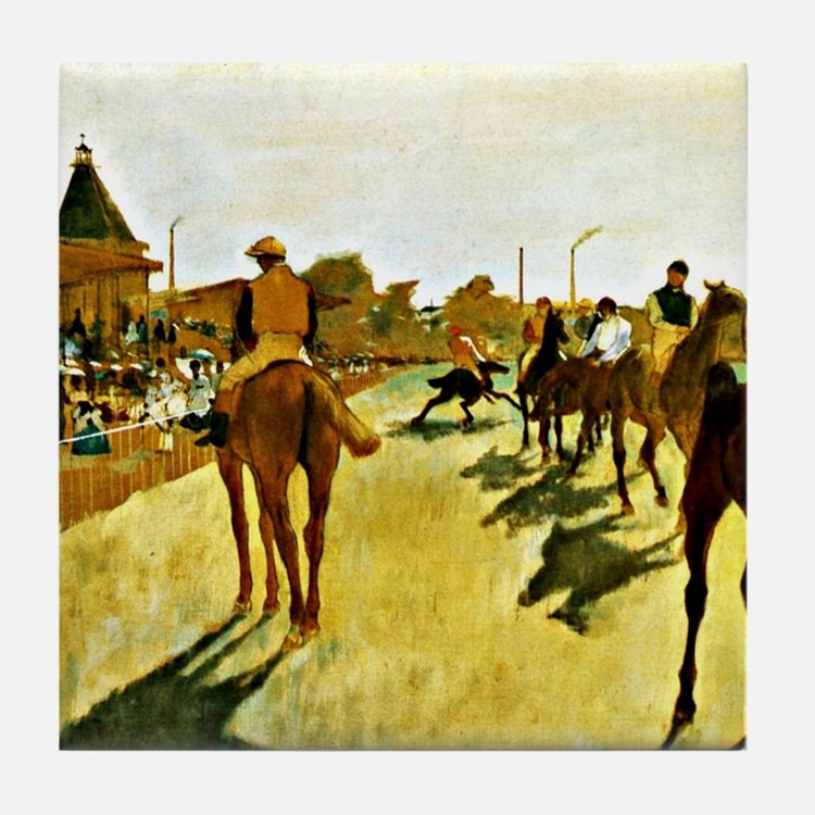 Racehorses Before the Stands Tile Coaster