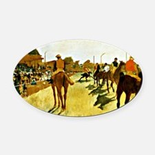 Racehorses Before the Stands Oval Car Magnet