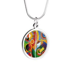 Rhythm, painting by Robert D Silver Round Necklace