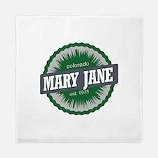 Mary Jane Ski Resort Colorado Green Queen Duvet
