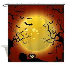 Halloween Spooky Trees Shower Curtain