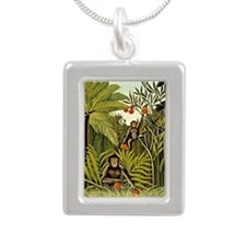 The Monkeys in the Jungl Silver Portrait Necklace