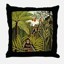 The Monkeys in the Jungle, Rousseau p Throw Pillow