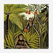 The Monkeys in the Jungle, Rousseau p Tile Coaster