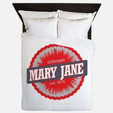 Mary Jane Ski Resort Colorado Red Queen Duvet