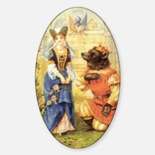 Vintage Beauty and the Beast Sticker (Oval)