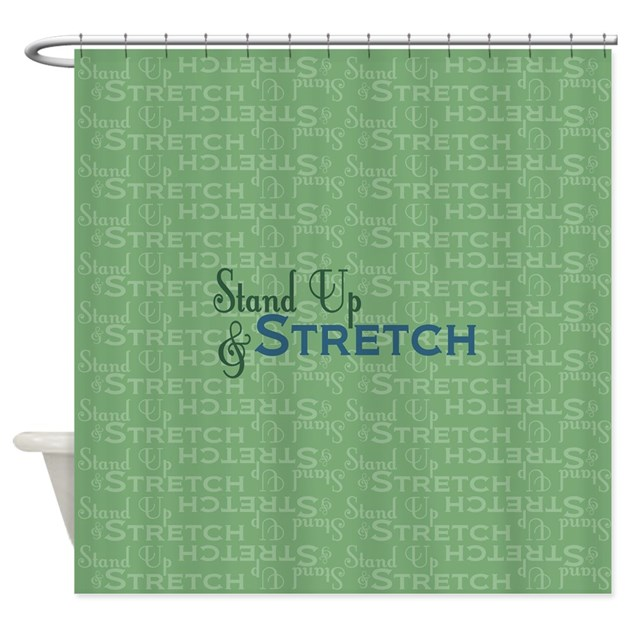 stand up and stretch shower curtain by thepluralmind