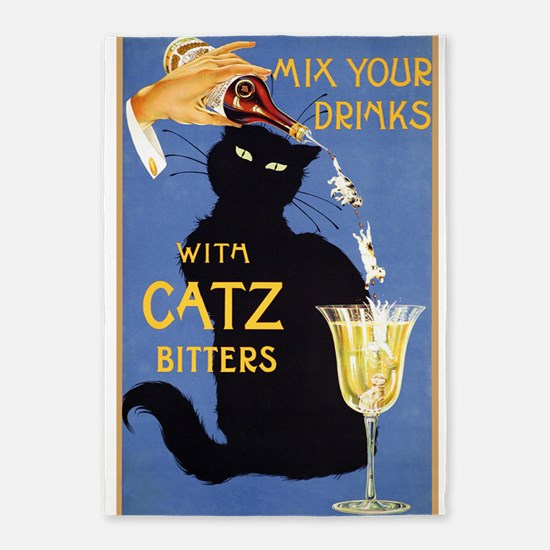 Cat Bitters, Drinks, Cat, Vintage Poster 5'x7'Area