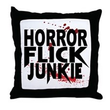 Horror Flick Junkie Throw Pillow