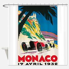 Monaco, Car, Race, Travel, Vintage Poster Shower C