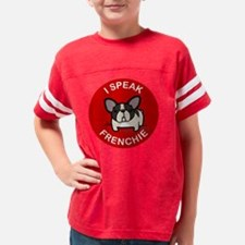 Pied I Speak Frenchie on Red Youth Football Shirt