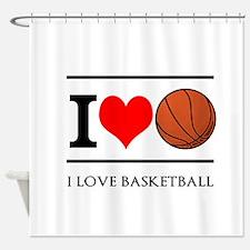 I Heart Basketball Shower Curtain