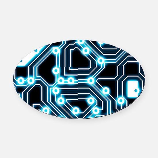 ElecTRON - Blue/Black Oval Car Magnet