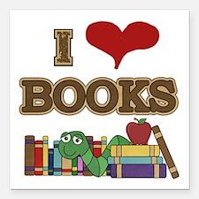 "I Love Books Square Car Magnet 3"" x 3"""