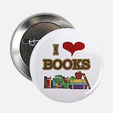 """I Love Books 2.25"""" Button"""