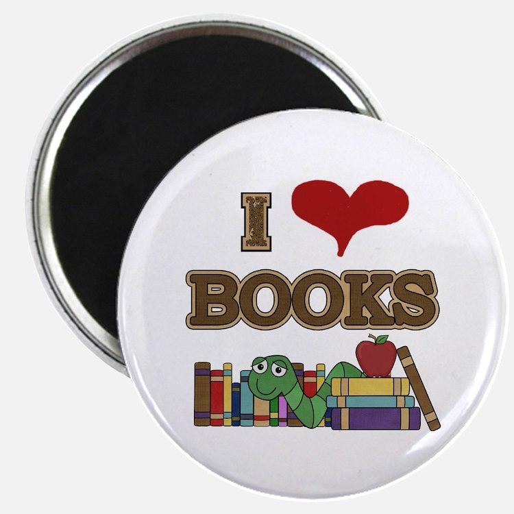 """I Love Books 2.25"""" Magnet (10 pack)"""