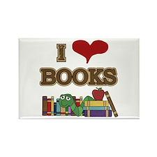 I Love Books Rectangle Magnet (100 pack)