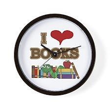 I Love Books Wall Clock
