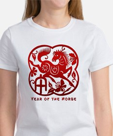 Chinese Papercut Year of The Horse Women's T-Shirt