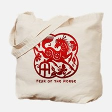 Chinese Papercut Year of The Horse Tote Bag