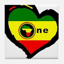 Afrika Rasta Heart I Tile Coaster