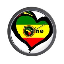 Afrika Rasta Heart I Wall Clock