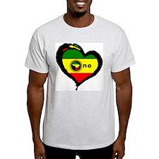 Afrika Rasta Heart I Ash Grey T-Shirt