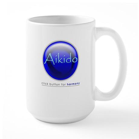 Aikido Blue Button Large Mug