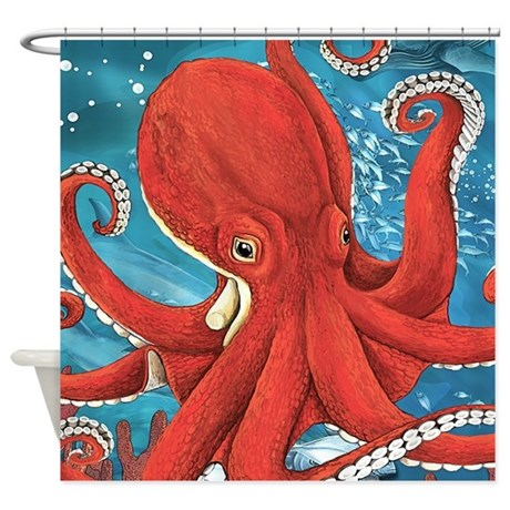 Octopus painting shower curtain by bestshowercurtains for Colorful octopus painting