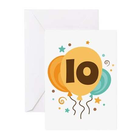 10th Birthday Party Greeting Cards (Pk of 10)