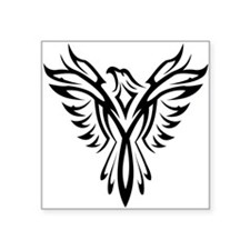 "Tribal Phoenix Tattoo Square Sticker 3"" x 3"""