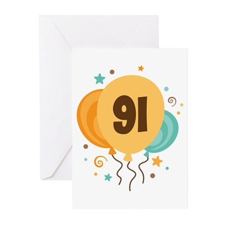 91st Birthday Party Greeting Cards (Pk of 10)