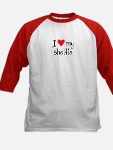 I LOVE MY Sheltie Kids Baseball Jersey