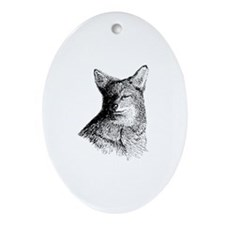 Coyote (line art) Ornament (Oval)