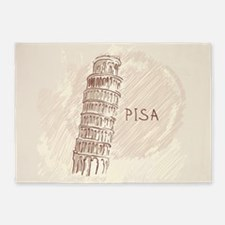 Leaning Tower of Pisa 5'x7'Area Rug
