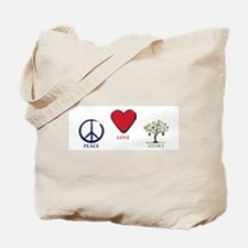 Peace Love Story Tote Bag