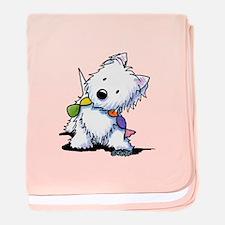 KiniArt Playful Westie baby blanket