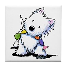 KiniArt Playful Westie Tile Coaster