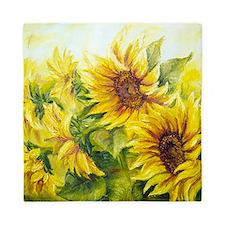 Sunflowers Oil Painting Queen Duvet
