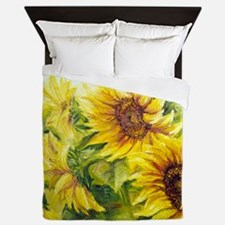 Sunflowers Oil Painting Queen Duvet